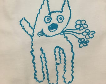 T Shirt with doggie and flowers in small, medium, and large