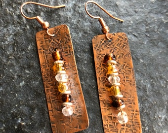 Textured copper earrings with glass beads
