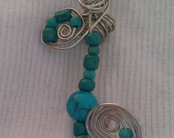 Braid / Loc Jewelry One of a Kind  Turquoise Gemstone