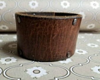 Jkleathers Brown leather belt cuff ~ optional hand stamping words bracelet ~ wear your story