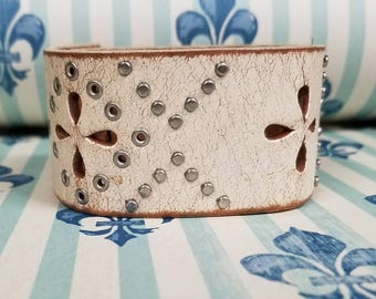 Jkleathers cream leather cutout cuff bracelet Hand Stamped Option Personalize ~wear your story
