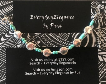 Silver Plated Turquoise Single-Stand Bracelet