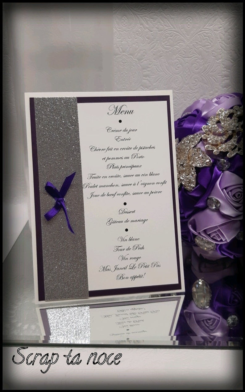 Purple Wedding Menu And Bling Bling Money Table Menus For Purple And Silver Glamour Wedding