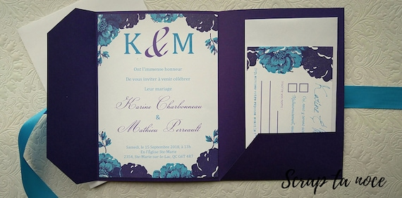 Share Pouch Turquoise And Purple Wedding Handmade Pocket Invitation Kit To Teal