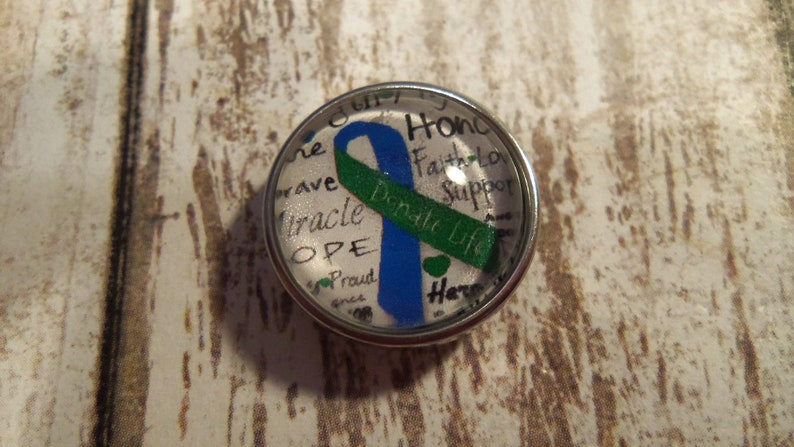 organ donor Awareness snap charm to fit 18-20mm base jewelry