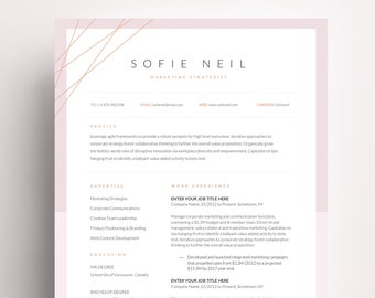 one page resume template cover letter curriculum vitae cv template word modern professional resume design creative functional resume word