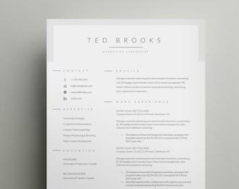 Modern Resume Design Resume Template Word Cv Template Word Etsy