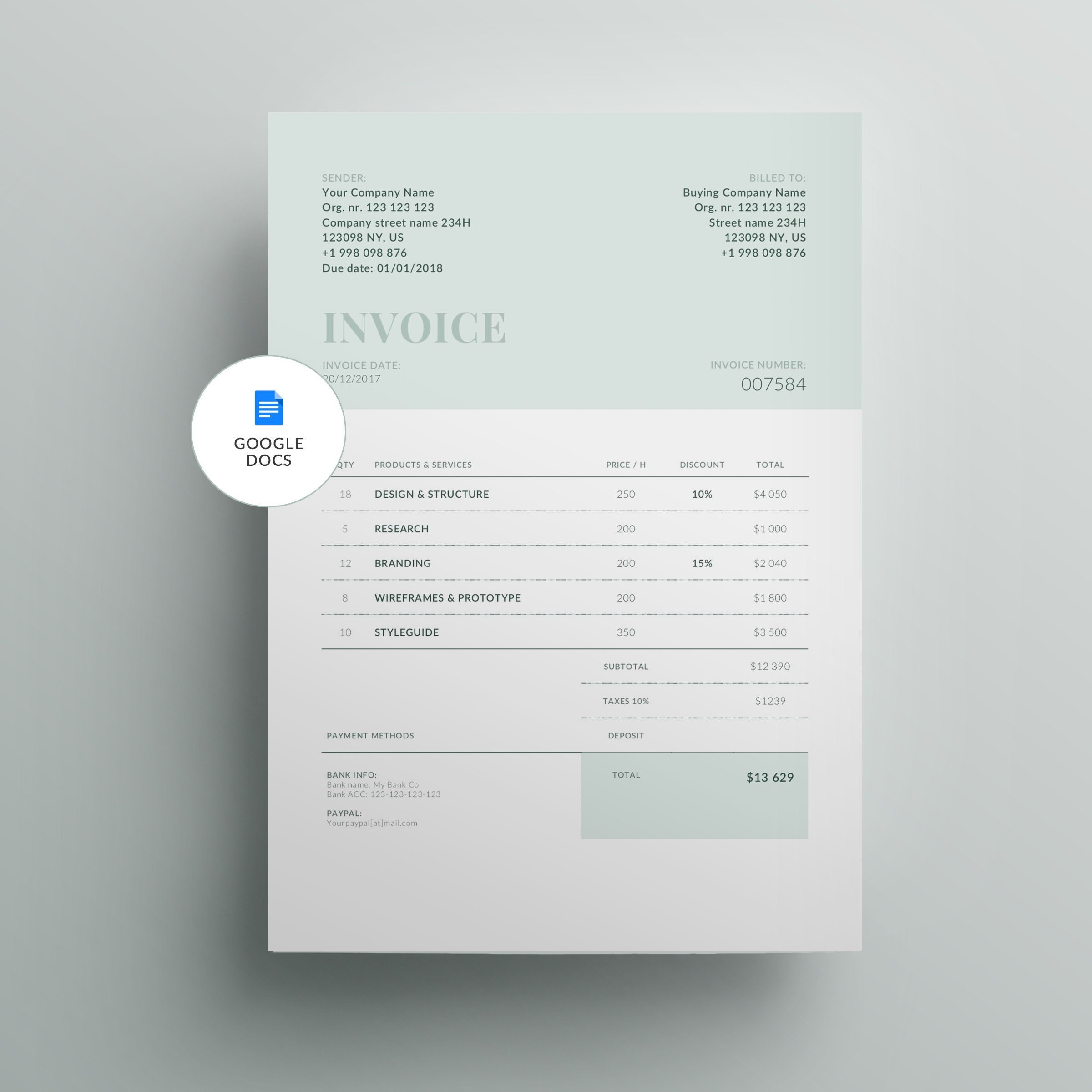 Invoice Template For Google Docs Etsy