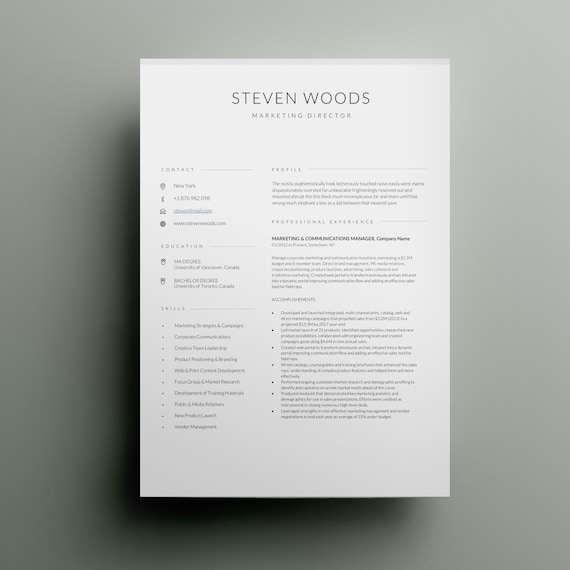 Simple Resume Template | Modern & Professional Resume Template for Word |  CV Resume + Cover Letter | Two Page Cv | Instant Download Resume