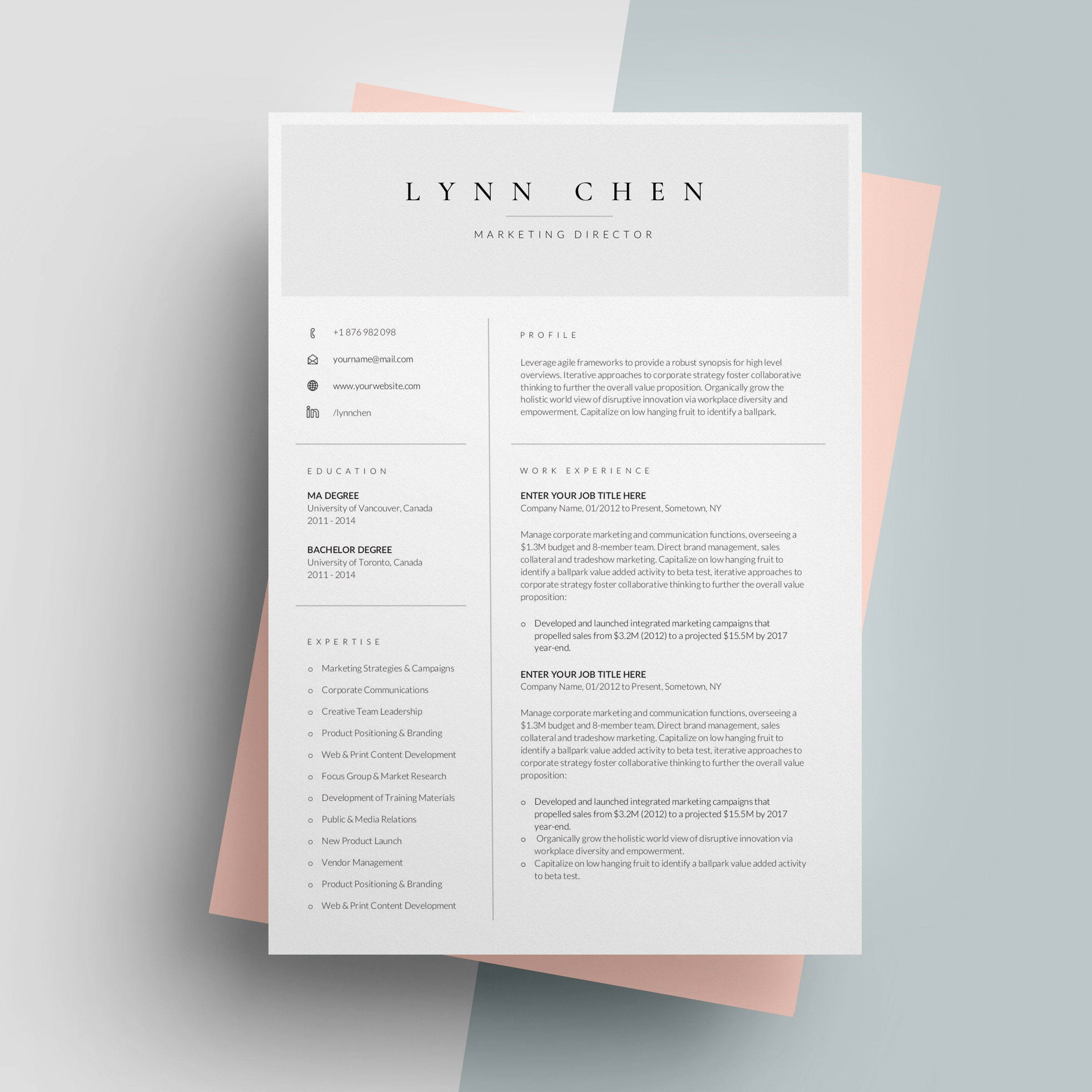 One Page Resume Template for Word Simple Resume Templates | Etsy