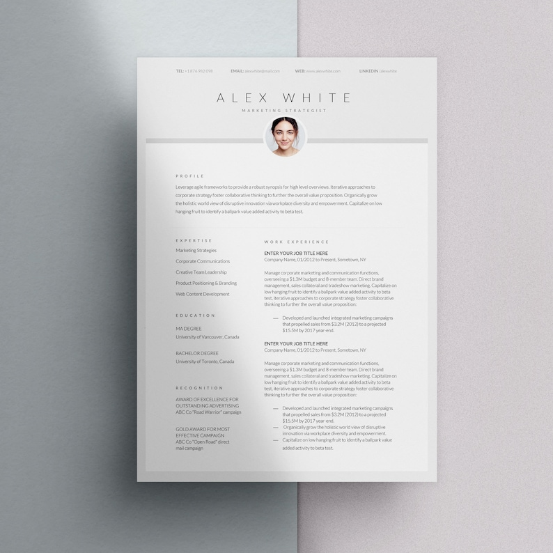 Simple Resume Template with Photo Lebenslauf Professional   Etsy