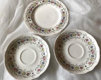 Vintage Duchess bone china- Albany design 2 x saucers , 1 x tea plate