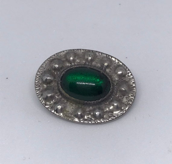 Pewter Ruskin style Arts & Crafts brooch with gree