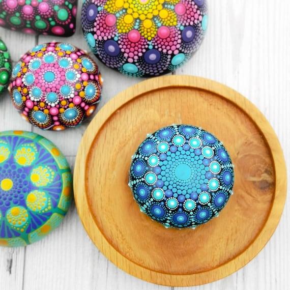 Mandala Stone art deco dotted rock handpainted stone meditation paperweight spiritual boho hippie yoga gift bohemian painted stone