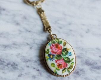 Blossomtime Keychain, Springtime Florals Vintage Pendant Gold Keychain by Prestige, Antique Pendant Keychain