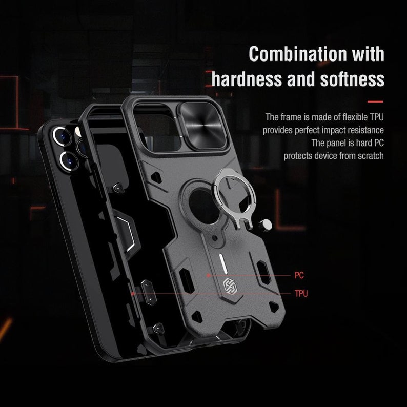 NILLKIN for iPhone 12 Pro Max Case for iPhone 12 Mini Case With Ring Stand Case Camera Protection Slide Cover