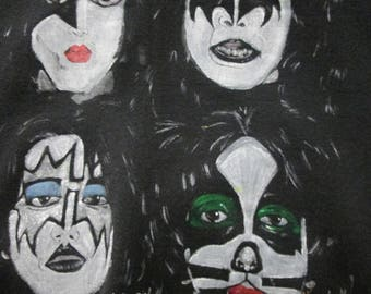 Large sweatshirt of painting of KISS Dynasty Hand drawn, Preworn