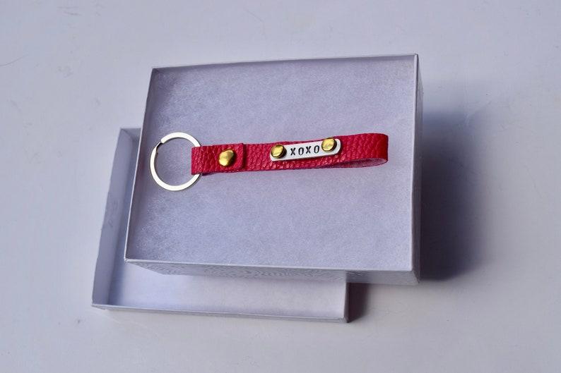 Faux Leather Stamped Keychain Bridal Party Custom Keychain Groomsmen Gift XOXO Vegan Keychains Boho Keychain