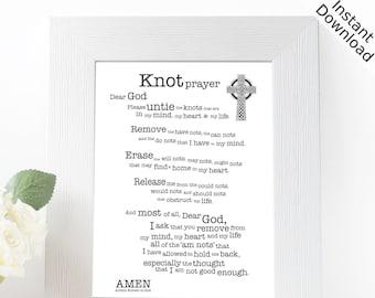 Knot Prayer Printable, Portrait, Digital Download