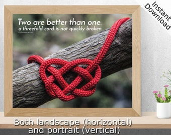 Two are better than one... - Ecclesiastes 4: 9-12 - Scripture Art - Printable, Landscape and Portrait, Digital Download, Bible Art