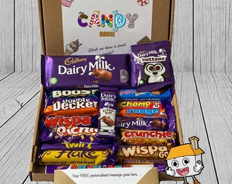 Personalised CADBURY Chocolate Message Card Sweet Hamper Present Letterbox Treat Dairy MIlk Candy Gift Box Birthday Anniversary All Occasion