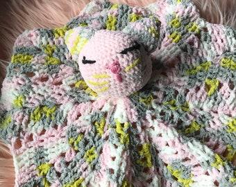 af9937d67 crochet cat lovey, crochet cat lovie, cat lovey, kitty lovey, security  blanket, security baby blanket, crochet security blanket