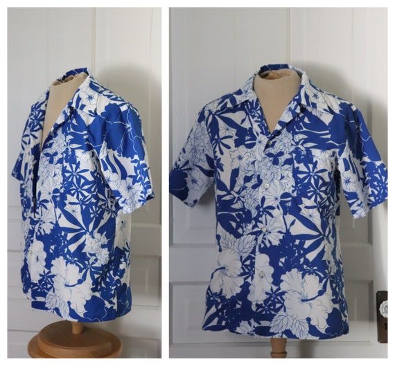 Pomare 1970's Blue Floral Hawaiian Shirt. Vintage