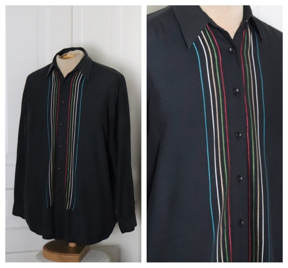 VTG & Retro Stripped Black Long Sleeve Club Shirt.
