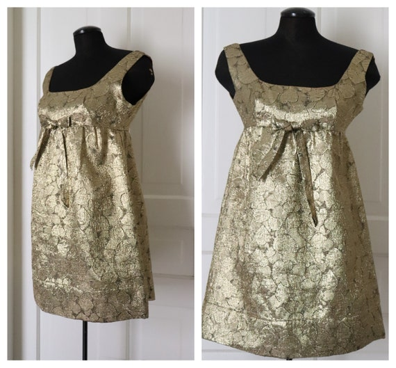 1960's Gold Lame' Baby Doll Dress. Vintage and Oh