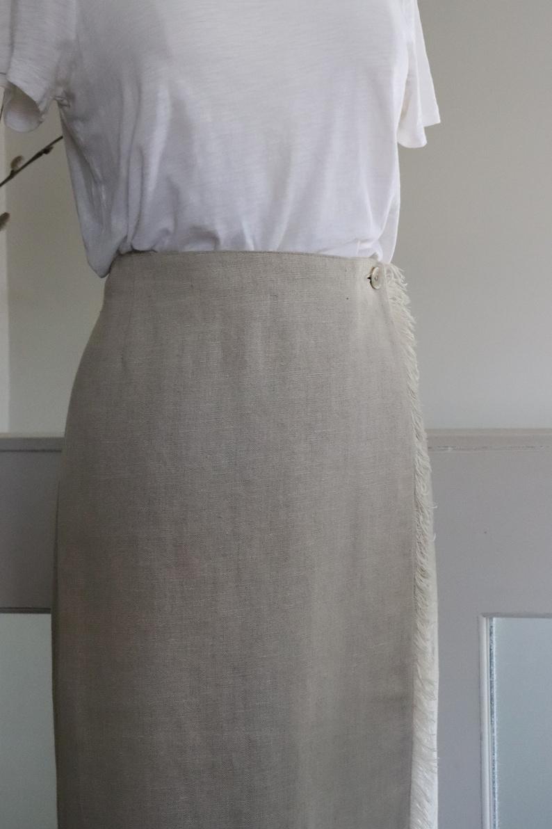 1980/'s Light Beige Linen Wrap Skirt by Daniel Hechter Canada Vintage 80/'s Midi Length Fully Lined Wrap Skirt with Fringe.