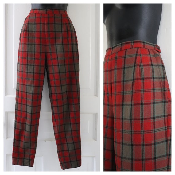 1950's Red Plaid Cigarette Pants. Vintage Casual S