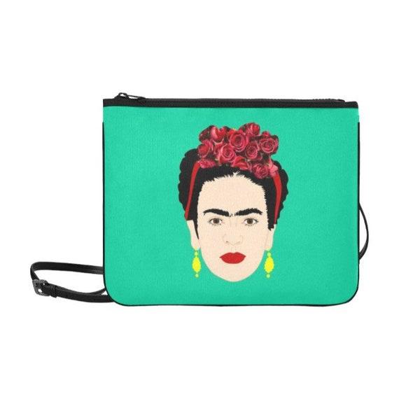 179cfcc6b1096 Women Frida Kahlo Cartoon Around Zip Wallet with Wristlet