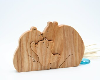 Montessori toddler toys Wooden Bear family puzzle toy Waldorf baby toddler toys Family present Mothers day gift Gift for mummy