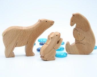 Polar Bear toy / Montessori animals family / Wooden animals / wooden toy / wooden bears / Waldorf toy / wooden animal toy / animal figures