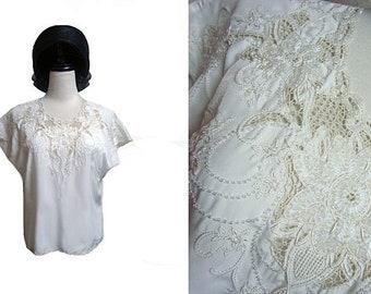 Fiber Street VINTAGE! classic 80S  handmade ART ! amazing handmade details & embroidery tops !