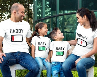 ab588de6db Family Matching Shirts, Daddy Mommy Baby T-Shirts, Low Battery and Charged  Battery, Family Battery Shirts, Daddy Mommy and Me, Family Set