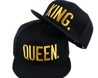 KING and QUEEN Embroidered Flat Bill Snapback 1f8c3c098d4b