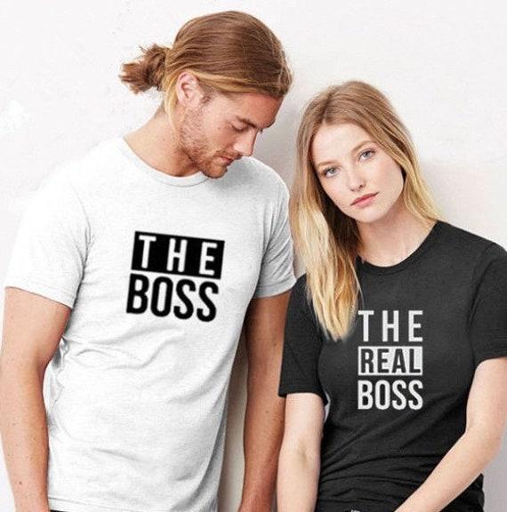 le patron et le nouveau Patron Famille assorti T-shirts Le grand patron le véritable Patron