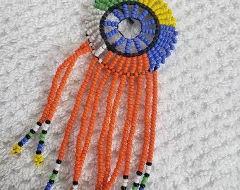 Chandelier boho beaded earrings, handmade jewelry