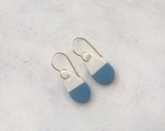 Blue Drop - Porcelain & 14k Gold Filled Hooks - Handmade - Hand Painted