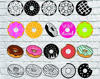 20 Donut svg bundle- Donut Dxf- Donut vector- Donut digital clipart for Print, Design or more , files download svg, png, eps, dxf, decal.