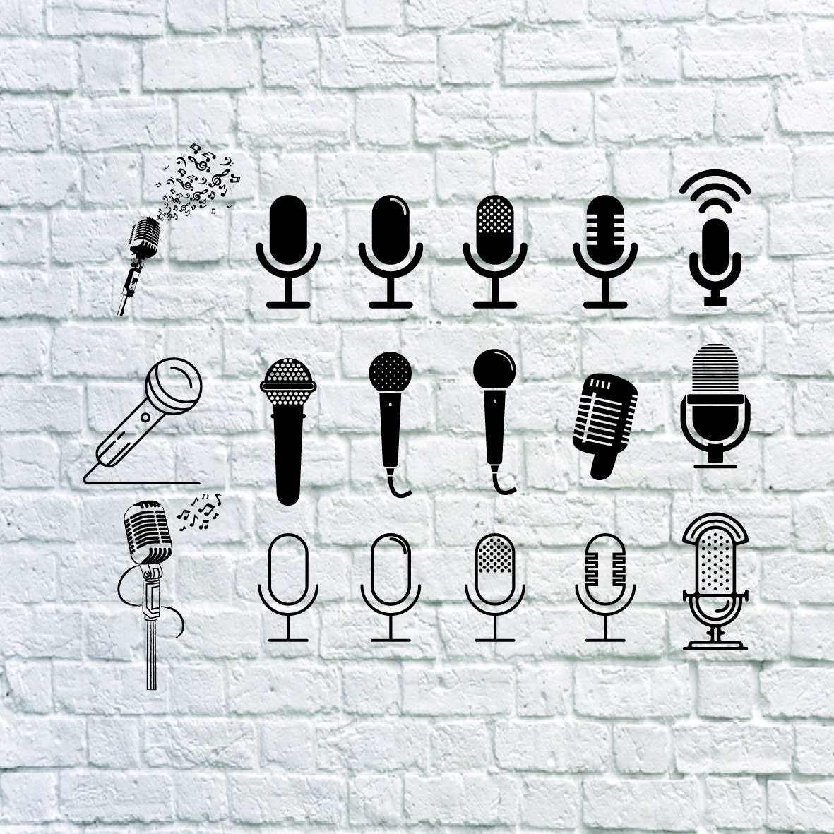 Buy 3 Get 1 Free 18 Microphone Svg Microphone Dxf Singing Etsy