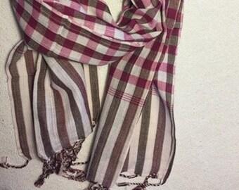 handmade cotton scarf pink cotton scarf unisex cotton scarf womens cotton scarf pink check scarf cotton check scarf womens check scarf