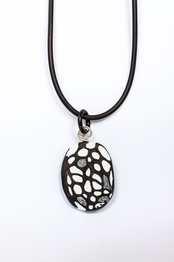handmade unique various designs Polymer clay pendant on synthetic leather chain