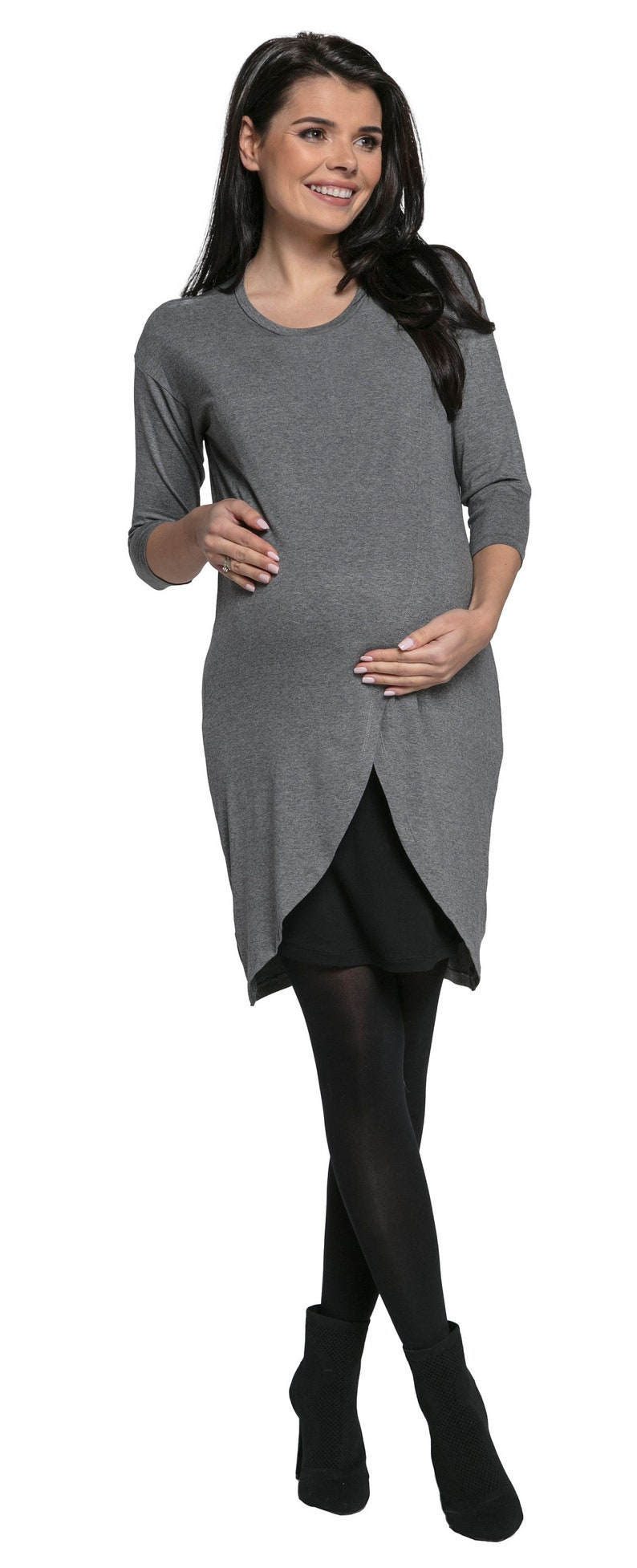 40145832747 Happy Mama. Womens Maternity Nursing Wrap Dress 3 4 Sleeves.