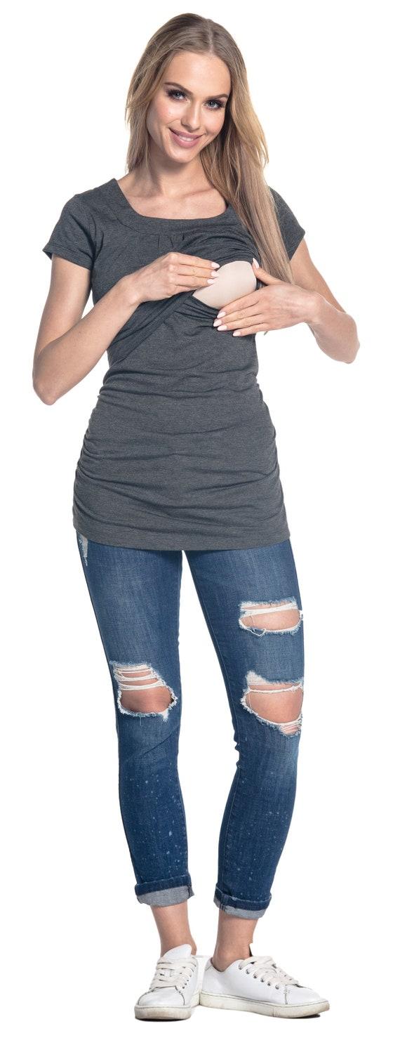 Womens Maternity Nursing Double Layer T-Shirt Round Neckline HAPPY MAMA 136p
