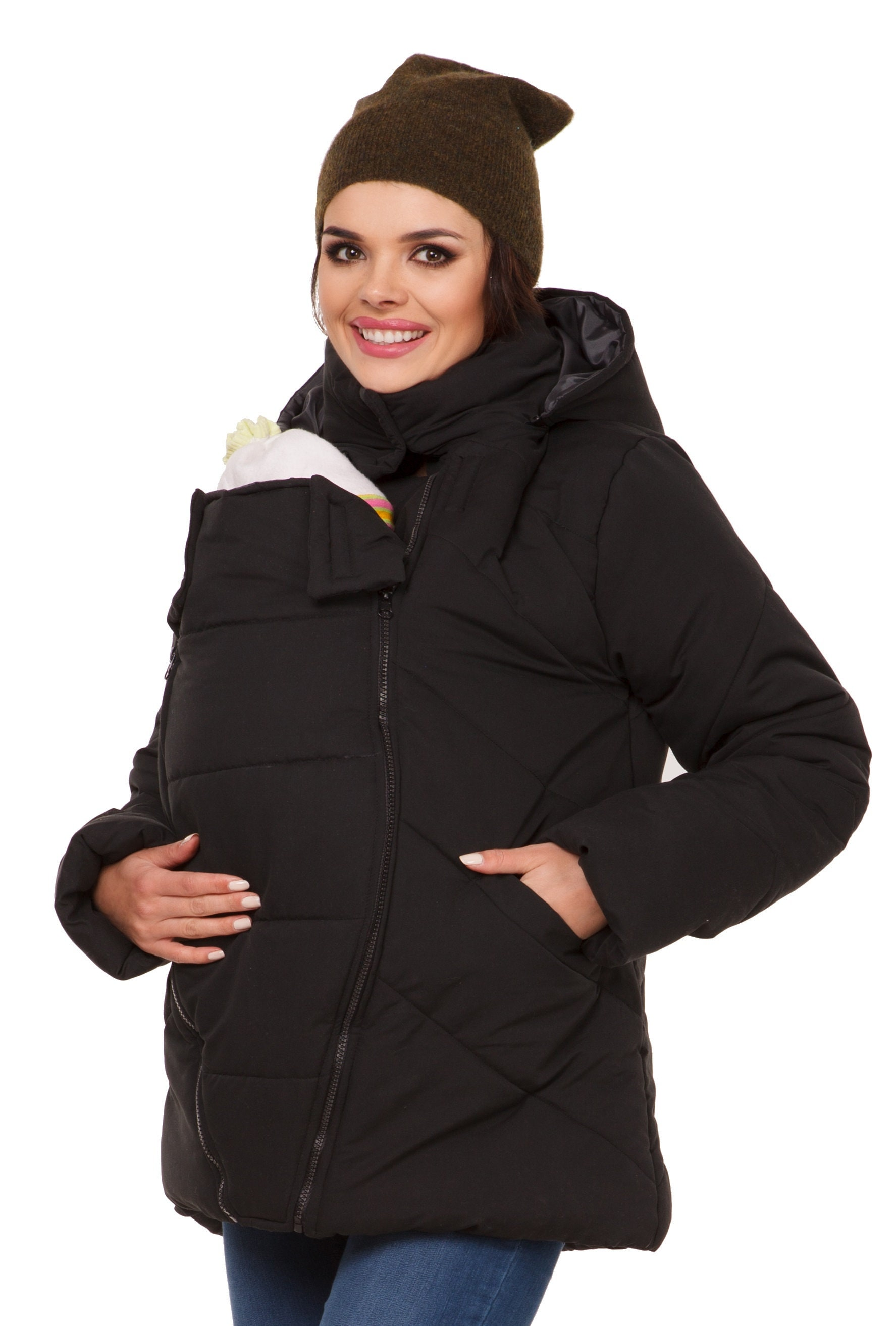4f6c3e96a12 Happy Mama. Womens Maternity Padded Jacket Hood Carrier