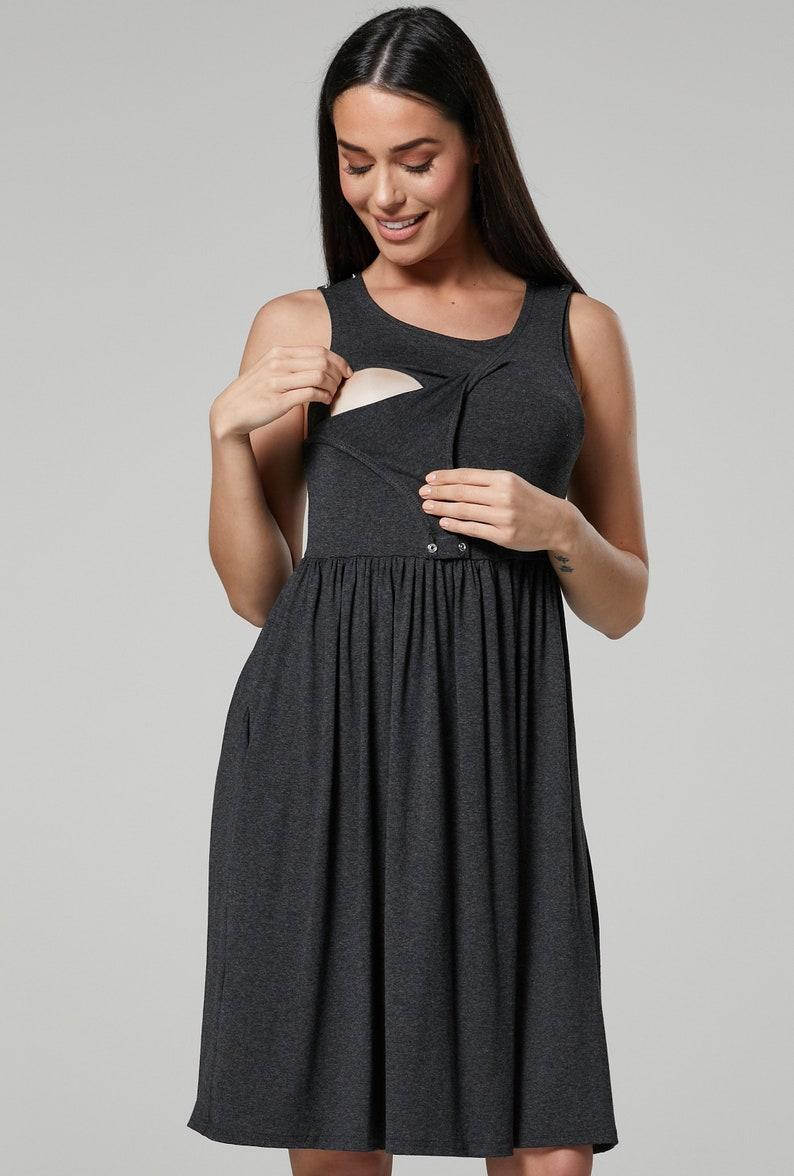 HAPPY MAMA Women\u2019s Maternity Nursing Pleated Cocktail Print Dress Sleeveless 103