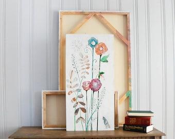 Original Flora Bird Folk Acrylic Art 18x36