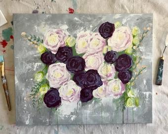 Impressionist Acrylic Roses Original 20x18